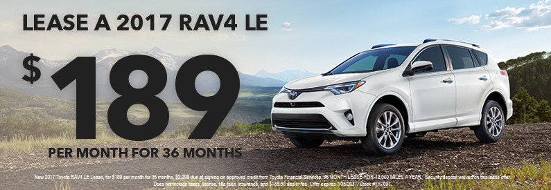 New 2017 Toyota Rav4 Le Lease For 189 Per Month 36 Months 2 299 Due At Signing On Roved Credit From Financial Services