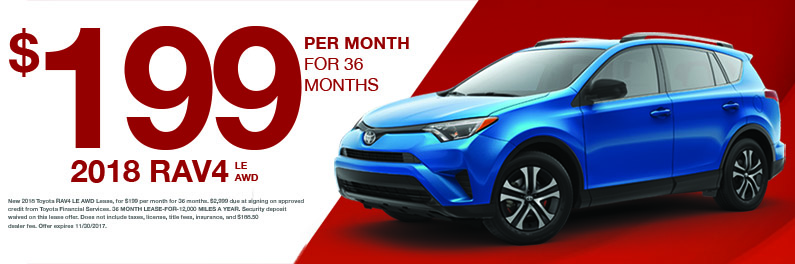 Lease A Rav4 For Just 199 Month Markquart Toyota Specials